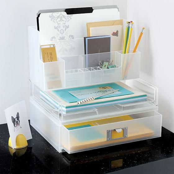 Our Like-it Large Desktop Station is a fantastic organizer on its own, or it can stack on top of our Landscape Paper Drawer and Letter Tray.  Two large compartments accommodate letter-size paper and files; two medium compartments accommodate envelopes and other office accessories.  The small compartments on front, complete with repositionable dividers, are great for pens, pencils, scissors, paper clips, Post-It flags and pushpins.
