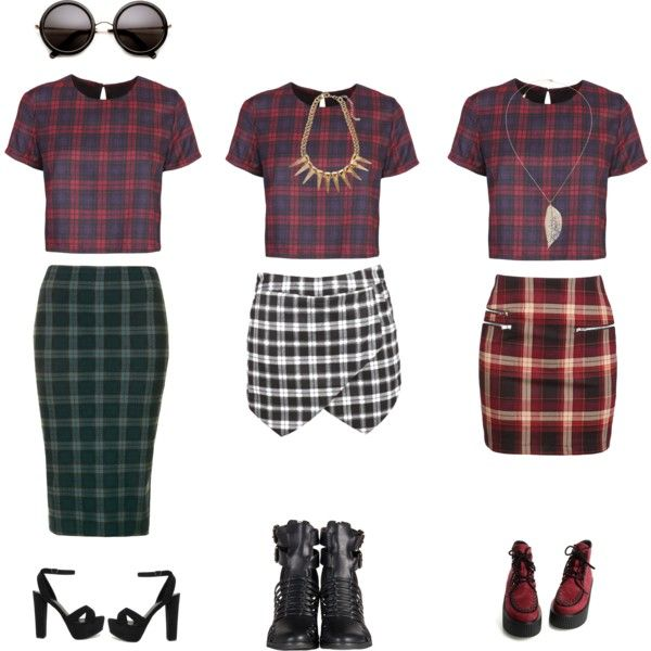 """plaid transform in 3 styles"" by clarahsu on Polyvore"