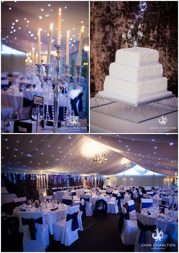 Winter wedding decoration ideas. Love the candle sticks with draped crystals