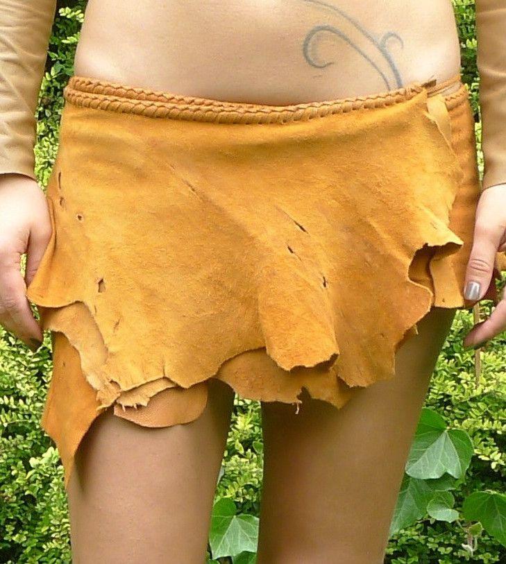 Antique Multidot Tan Leather Belt Skirt