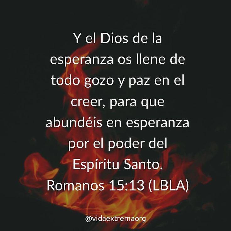 Y el Dios de la esperanza la llene de todo gozo y paz en el creer para que abundéis en esperanza por el poder del Espíritu Santo. Romanos 15:13 #Biblia #VidaCristiana #Iglesia #VidaExtremaOrg
