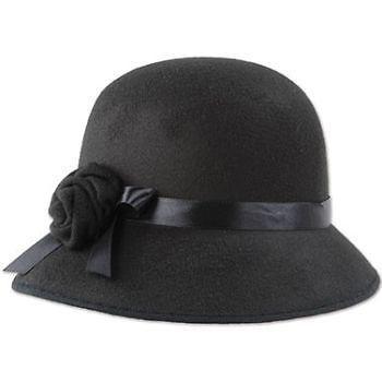 Black Cloche Roaring 20/'S Ladies Flapper Hat Cap Womens Adult Costume Accessory