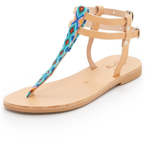 Elina Lebessi Ileanna Sandals (630 RON) ❤ liked on Polyvore featuring shoes, sandals, blue, leather sandals, embroidered shoes, leather shoes, genuine leather shoes and rubber sole shoes