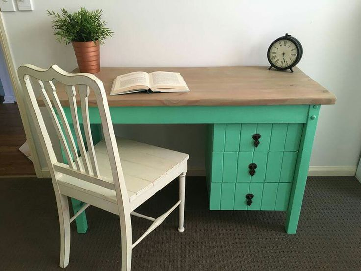 Restyled desk, painted aqua green with a natural timber top.  Facebook.com/bevelled.edge