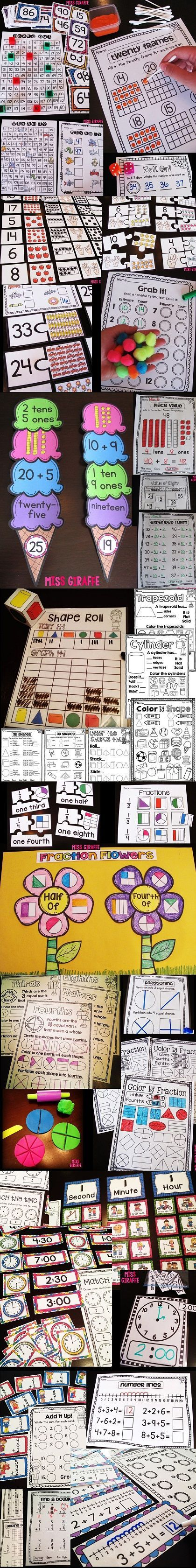 First grade guided math centers and worksheets and ideas FOR THE ENTIRE YEAR - must read this entire blog!!!! You can get all of these in a bundle to have math planned the whole year for 1st grade!