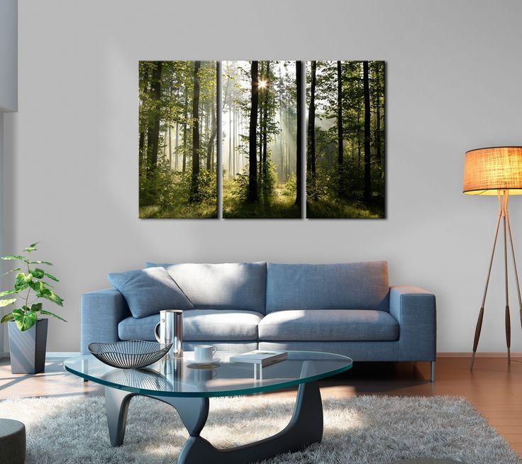 """Obrazy do salonu - fotografie na płótnie / obraz las """"Natura: Leśny poranek"""". Dostępny także jako obraz jedno- i pięcioczęściowy. Zobacz więcej w sklepie z dekoracjami ściennymi bimago"""