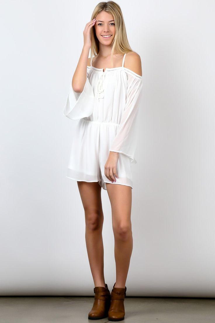 White Off Shoulder Long Sleeve Waist Strap Thigh High Romper! #fashion #USA #streetwear #streetstyle #streetfashion #trend #outfit #fashionweek #fashionshow #beauty #SleevelessTop #Jacket