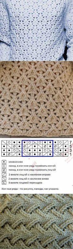 Необычный узор для вязания спицами / Вязание спицами / Вязание спицами для…