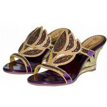 2016 estate nuovo bling bling cristallo della donna pantofole moda oro viola sexy del cuneo sandali di strass cut-outs tacchi fiore scarpe(China (Mainland))