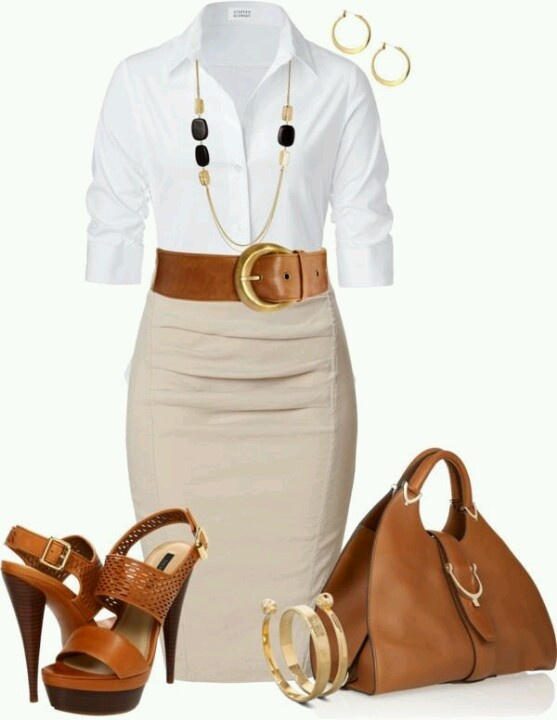 Love the white button up with pencil skirt, but definitely different shoes...these look a lil 'country' for me
