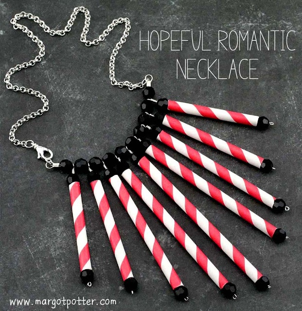 How to Make a Hopeful Romantic Paper Straw Necklace..