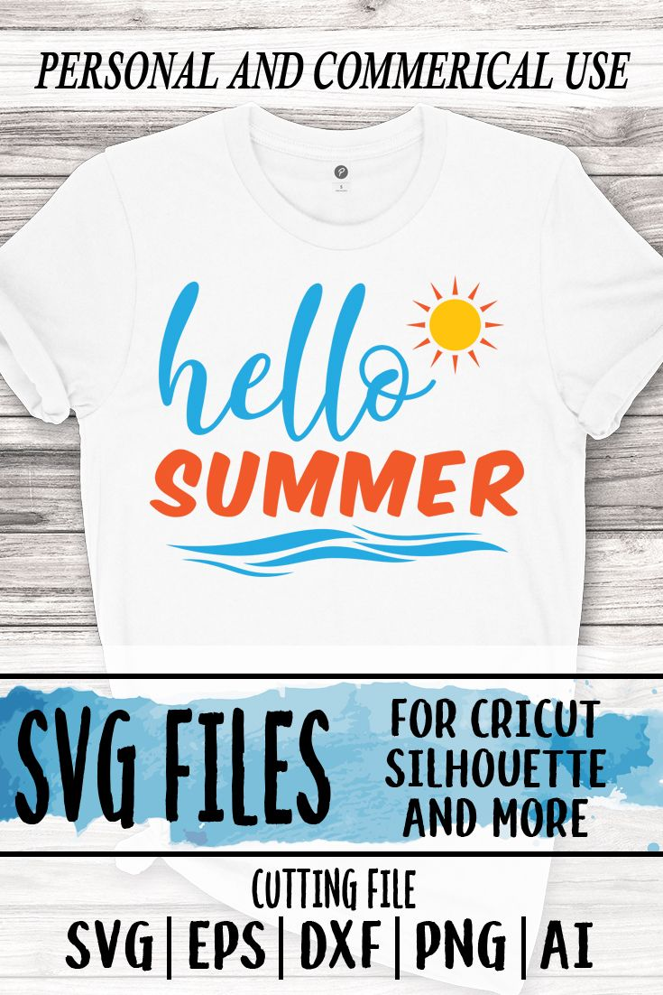 Hello Summer svg file, summer svg file, beach svg, summer