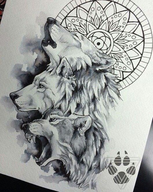 #Wolves, nice sketch would give a great tattoo for the lumberjack or lumbergirls