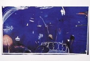 Balcony 2 (Sydney by Night), 1975, Brett Whiteley, oil on canvas, 51 x 93.5 cm., Australia. 'Windsor and Newton Deep Ultramarine oil colour has an obsessive, ecstasy-like effect upon my nervous system quite unlike any other colour.' Brett Whiteley 1975. Almost all the works have been rendered in a lyrical and personal style where colour ... has this time been used in saturation.' - Brett Whiteley 1974