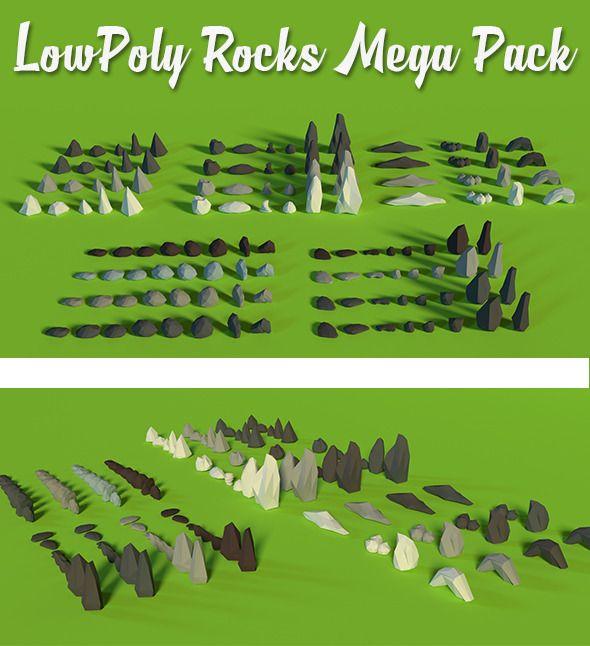 LowPoly Rocks MegaPack Bundle