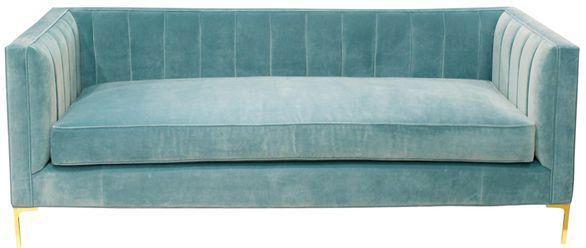 Perfekt Mid Century Velvet Sofa With Brass Legs