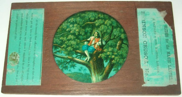 ROBINSON CRUSOE - SET OF 9 WOODEN FRAMED MAGIC LANTERN SLIDES