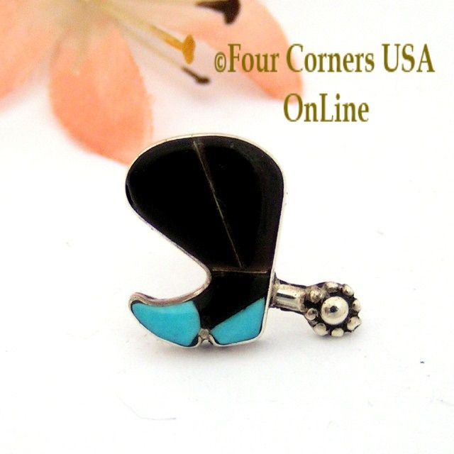 Four Corners USA Online - Jet Black Cowboy Boot and Spur Sterling Silver Inlay Lapel or Hat Pin, $20.00 (http://stores.fourcornersusaonline.com/jet-black-cowboy-boot-and-spur-sterling-silver-inlay-lapel-or-hat-pin/?page_context=category