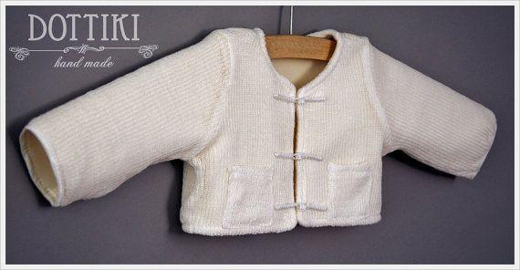 Ivory  Ecru Christening Sweater Boys BoleroBoys Jacket by DOTTIKI