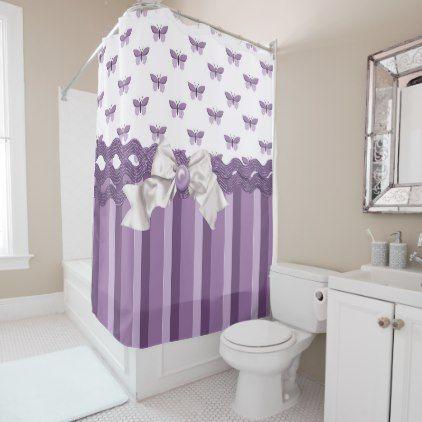 #Dreamy Purple Butterflies Shower Curtain - #Bathroom #Accessories #home #living