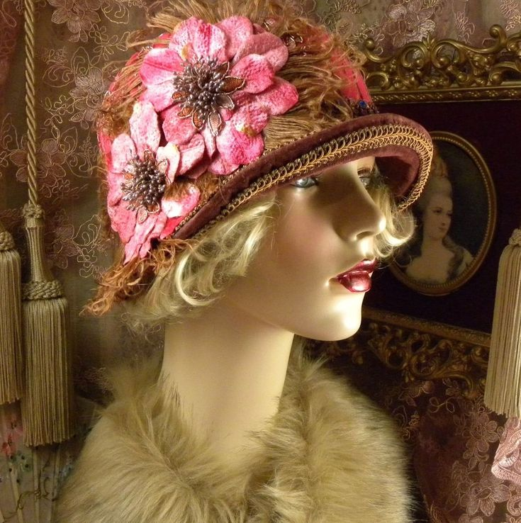 1920'S VINTAGE STYLE BROWN DK PINK & GOLD FEATHER SUEDE CLOCHE FLAPPER HAT #PatriciaJosephineAntiqueStyleDesign #Cloche