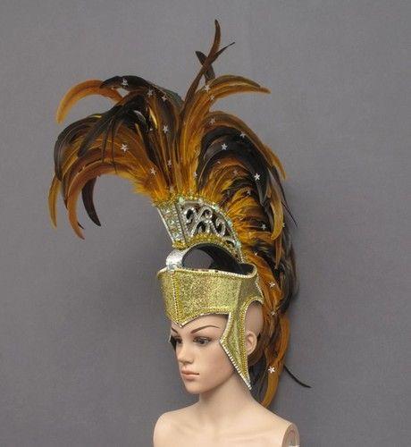 Gold Roman Warrior Helmet Bird Feather Headdress Costume Outfit | eBay