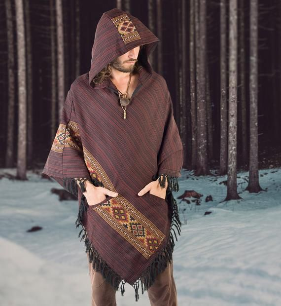 Handmade Hooded Black Mens Poncho Cashmere Wool with Large Hood and Pockets Jungle Primitive Gypsy Festival Mexican Tribal Embroidered Celtic Earthy Winter Tibetan AJJAYA Wild /…