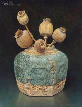 Gemberpot met papaverbollen, Aad Hofman -- (Dutch, Born 1944)