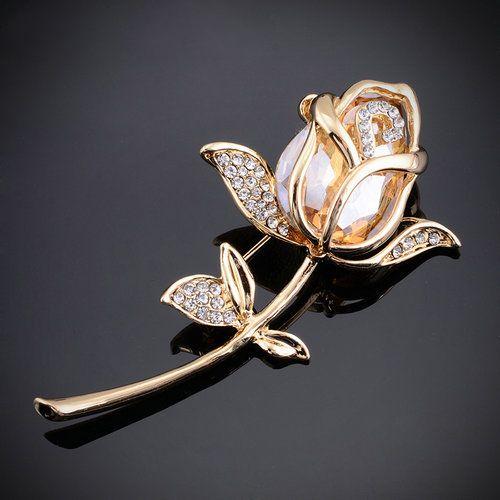 Luxusná brošňa v tvare zlatej ruže