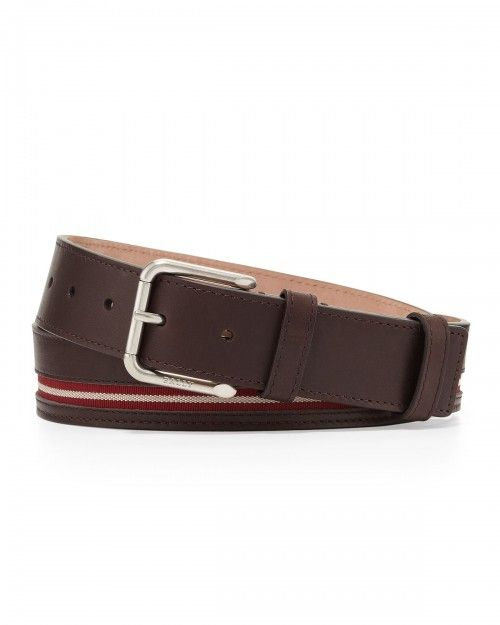Bally+Colimar+Stripe+Inlaid+Belt+Chocolate+80+32+|+Accessory
