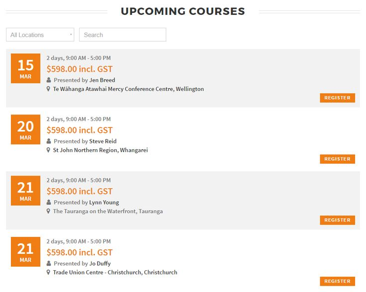 Upcoming course & event list - http://worksafereps.co.nz/