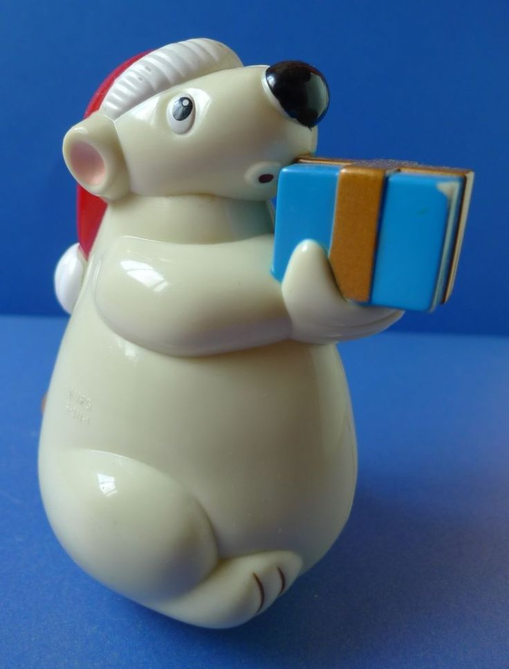 MPG S-3N-1 Vintage plastic Christmas White Bear w. present - roly-poly sway TOY #MPG