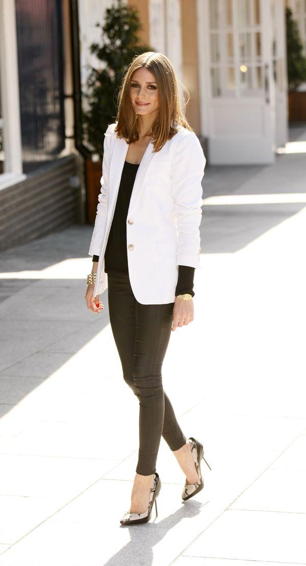 Olivia Palermo: Oliviapalermo, Fashion, White Blazers, Black And White, Street Style, Outfit, Olivia Palermo