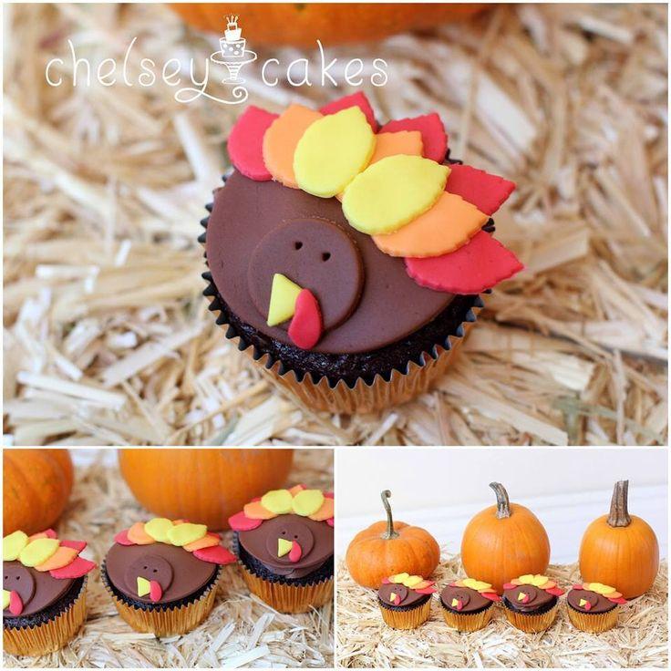 Fondant turkey cupcakes Chelseys cakes Pinterest ...