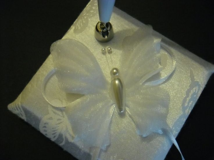 White Butterfly Pen with Base