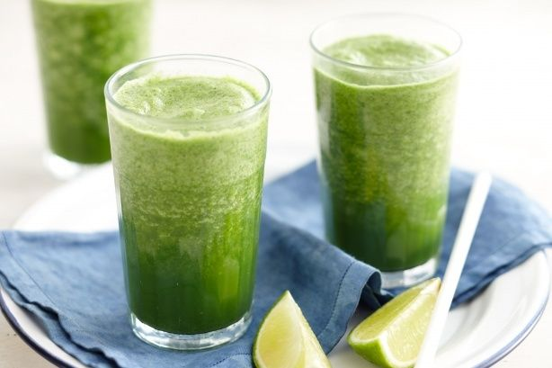 No time to cook? Blend up kale, lime and coconut water in this healthy green smoothie.