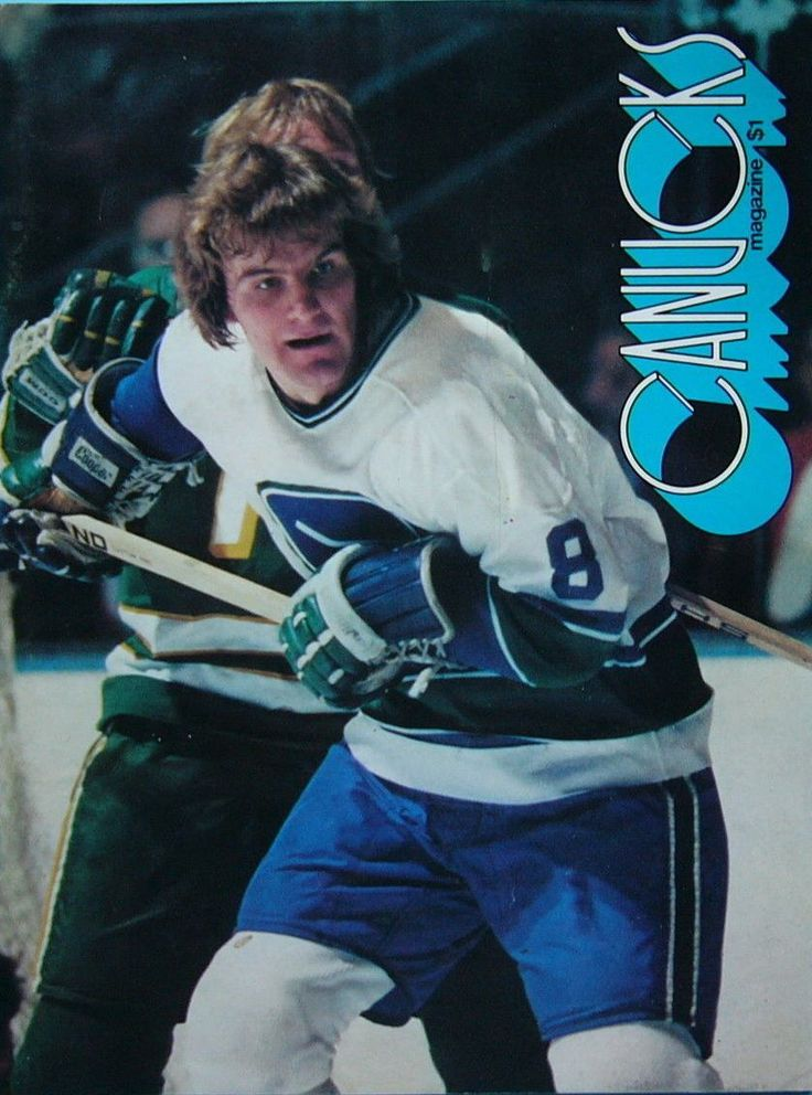 Rick Blight (8) and the Canucks vs. Minnesota North Stars, hockey programme.