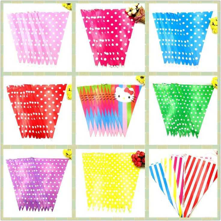 [Visit to Buy] 2.5m/set Dot/Striped/Hello Kitty Party Supplies Colorful Paper Banner Flag Kids Birthday Baby Shower Paper Flag Party Supplies #Advertisement