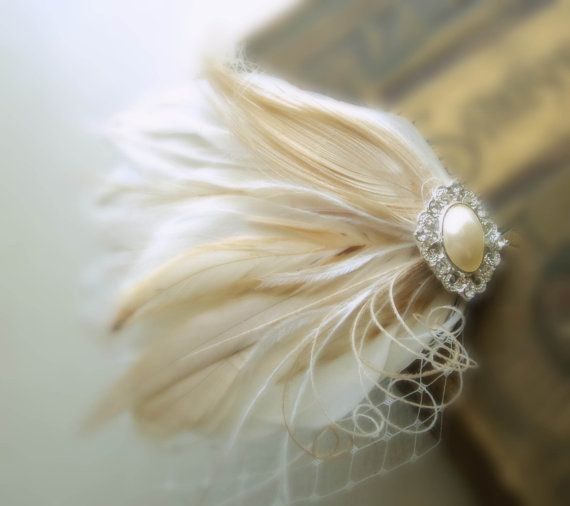 Creme and Ivory Feather Hair clip, Wedding Hair Combs, Bridal headdress, Made to order, Lightest creme on Etsy, $63.00