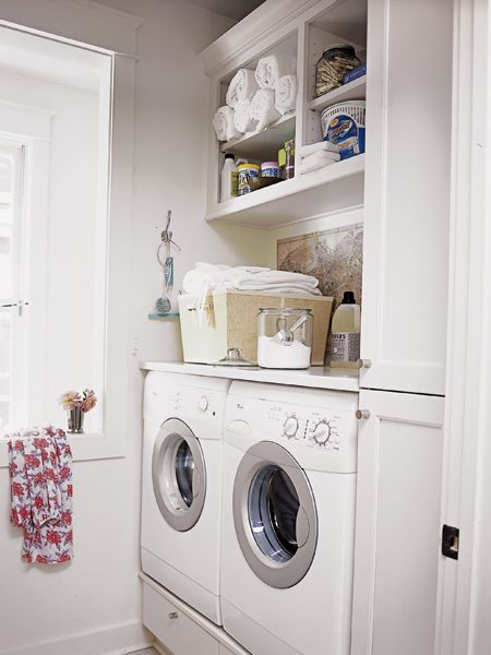 Trimmed Out Open Shelves Provide Handy Built In Storage In The Laundry  Room. ~ Wish I Could Organize My Laundry Room This Well!
