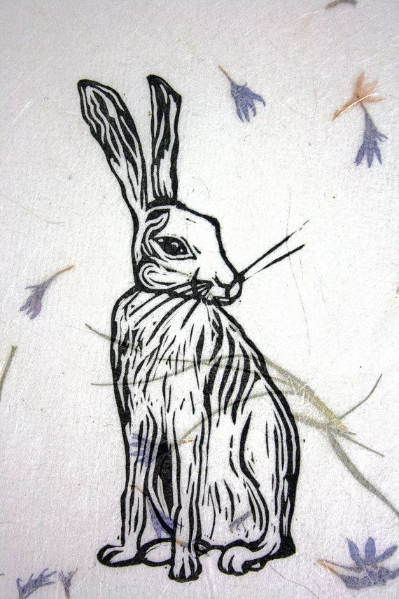 Linocut Hare Print Block Printed Wall Art By
