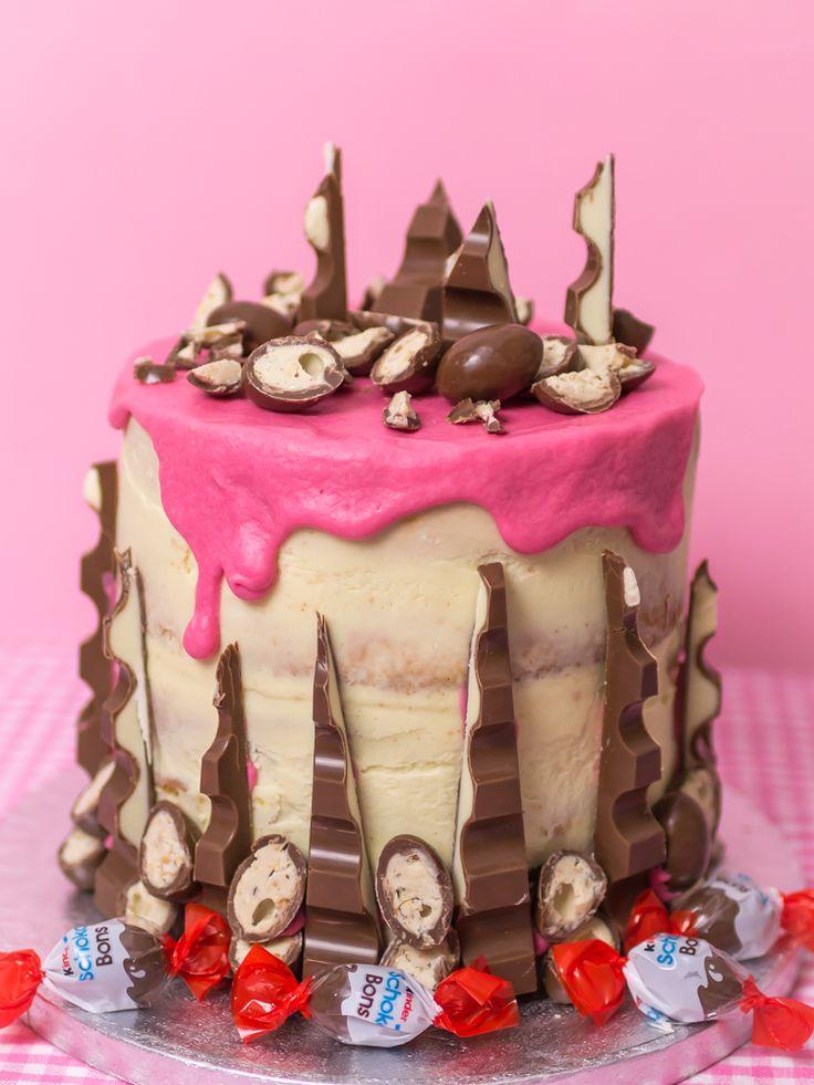 Frau Zuckerfee: Rezept und Anleitung für eine Kinder Schokolade Torte mit Himbeerfüllung