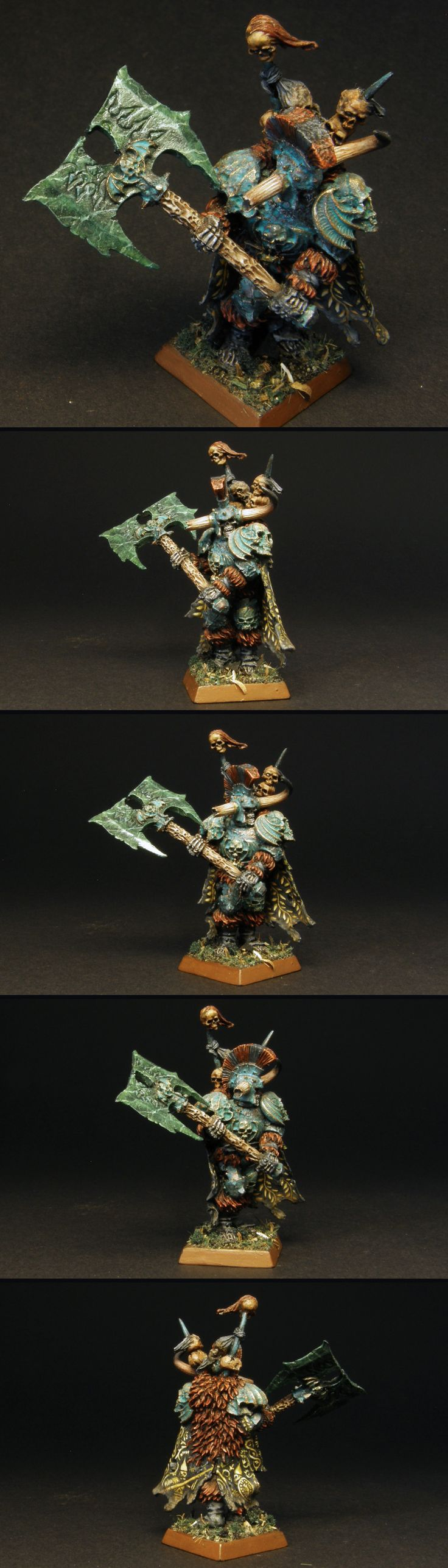 Krell the Lord of Undeath miniature painted for Vampire Counts, Warhammer Fantasy Battle, or Age of Sigmar if need be. Right now GW calls him Wight King with Black Axe. He belongs to the Deathrattle faction in Death Grand Alliance.