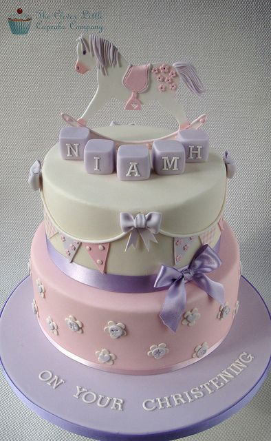 Rocking Horse Christening or a cute baby shower Cake by The Clever Little Cupcake Company (Amanda),