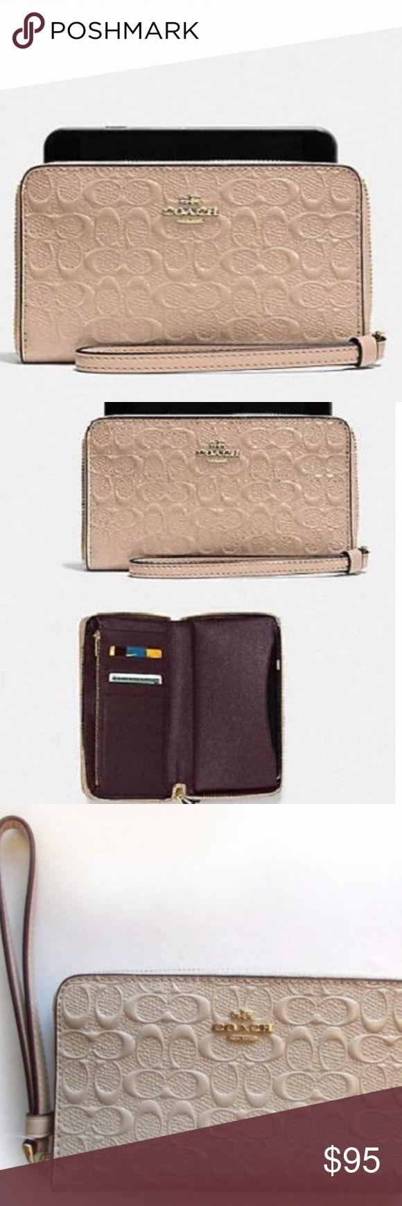 """Coach 57469 - Debossed Phone Wallet Wristlet COACH 57469 ~ DEBOSSED Phone Wallet WRISTLET ~ PLATINUM Tan Patent Leather ~ NWT  Brand New with Tags Patent Leather debossed w/ Signature C Full Zip Around Closure Light Gold Tone Hardware 6 Credit Card Slots Inside multi-function and phone pockets Zip Coin Pocket 6.25"""" x 3.75"""" Stored in Smoke-Free Environment Coach Bags Wallets"""