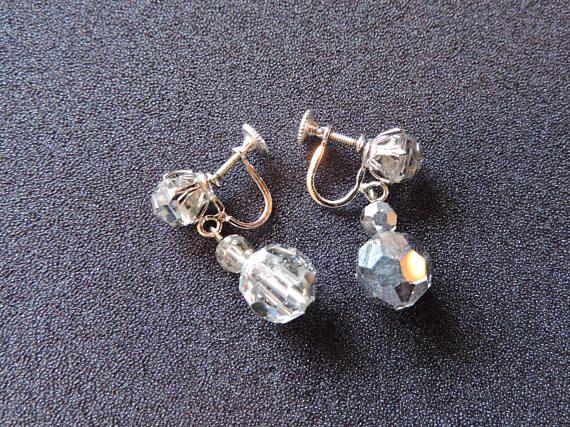 Sherman Swarovski Clear Crystal Bead Dangling Drop Screwback