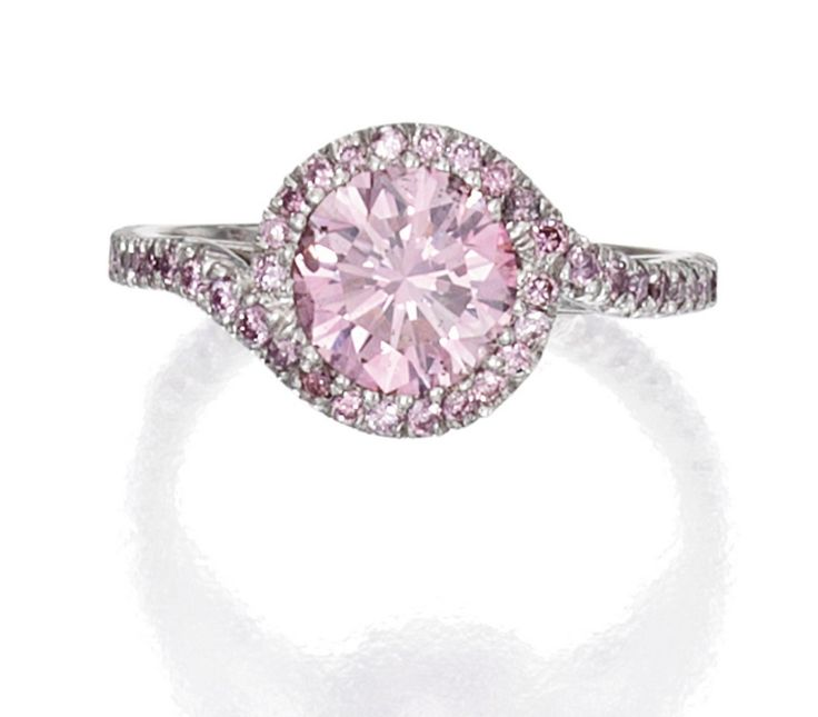 Centered By A Round Fancy Intense Purplish Pink Diamond Weighing 1 06 Carats Accented Small Wedding Ringspink Engagement