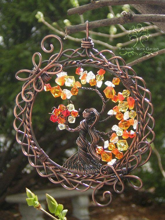MADE TO ORDER: Brigid Irish Celtic Goddess Tree of Life Pendant Wire Wrapped Jewelry or Suncatcher Ornament