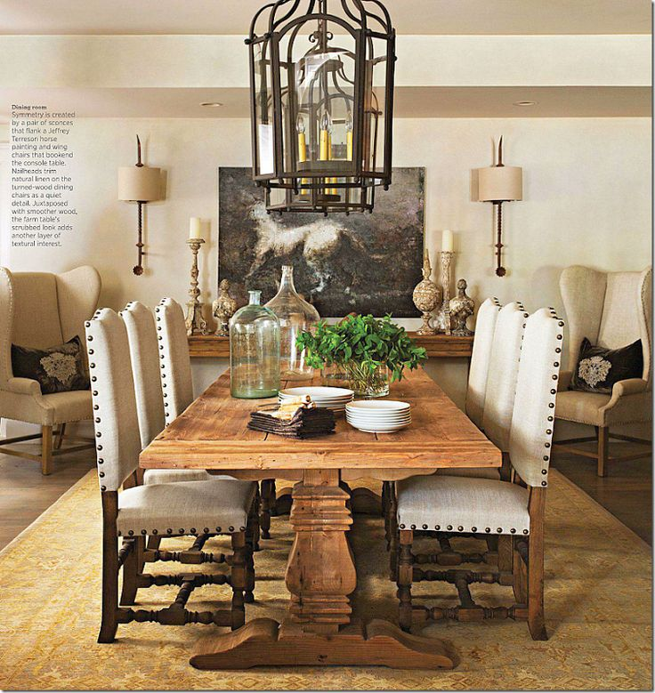 Neutral Dining Room Farm Table Chairs With Nailheads
