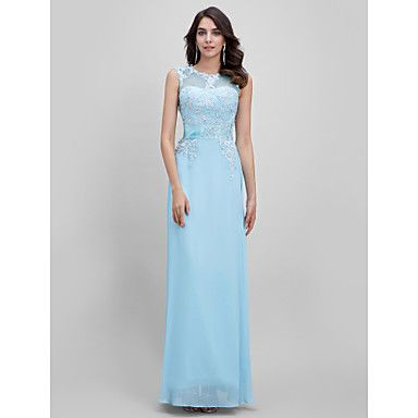 Formal+Evening+Dress+A-line+Bateau+Floor-length+with+Appliques+–+GBP+£+49.38